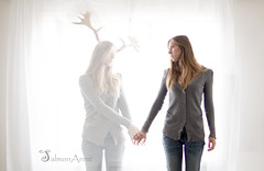 I hear you, Soul.  I'm trying (SalmonAnne) Tags: family portrait woman white selfportrait sisters photomanipulation photography death twins birth dream surreal naturallight moose deer negativespace photograph soul holdinghands females selfie