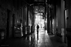 the confession (bluechameleon) Tags: street blackandwhite bw man brick rain vancouver buildings reflections lights alley alone shadows cobblestones wires dumpsters gastown bluechameleon sharonwish bluechameleonphotography