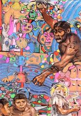 APE FASHION (Narolc) Tags: colour art collage paper flickr drawing inspired surreal evolution ape subliminal a5 anthropology visualart figurative ancestry symbolic cryptic unconscious detailed intricate sparklingheart sharingart narolc juliancloran subliminallysubversive