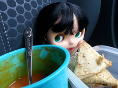 087/365 Soup and samosas (sozzielou) Tags: food tomato soup eyes triangle indian vegetable mug heinz edna samosas 365blythe