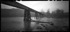 Railroad Bridge (DRCPhoto) Tags: bw kodak pinhole westvirginia portra cheatriver lenslessphotography zeroimage612b
