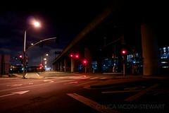 Freeway Lights (Luca Iaconi-Stewart) Tags: sanfrancisco street city urban night dark walking empty tracks clear freeway stoplight exploration deserted 280