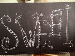 Sweet (Kathleen Sharp) Tags: white black pen sweet lettering doodled