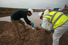 Mud Pit Sampling, Halfaya Oilfield, Iraq