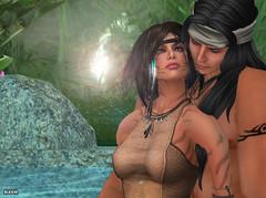 (Bleem Belargio) Tags: trees sun water forest rainforest couple sl foliage secondlife jungle lensflare