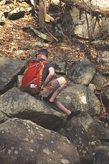 Break on a Rock (Melissa O'Donohue) Tags: nature forest matt woods rocks break hike adventure explore upstatenewyork hiker northeast hudsonvalley blackrockforest polerstuff