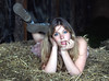 down on the farm (unexpectedtales) Tags: woman girl beautiful yard farm emma young straw hay bail