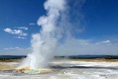 Clepsydra Geyser - Yellowstone National Park, Wyoming (Andrea Moscato (OFF till September)) Tags: park blue sky parco usa white hot nature water clouds america landscape us nuvole unitedstates natural stones natura basin steam national cielo np acqua eruption paesaggio statiuniti naturale vapore andreamoscato