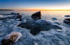 Frozen (tinamar789) Tags: ice winter sea seashore seascape frost frozen blue hour rocks last light horizon lauttasaari helsinki finland
