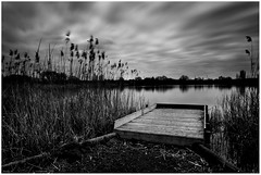 All The World's Indeed A Stage (andihun65) Tags: blackandwhite mono lake water sky reeds longexposure bw10stopndfilter canon60d canon1585mmis snodland fishing kent