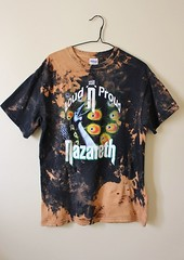 Splatter Bleached and Shredded Nazareth T Shirt Medium (shopthegasstation) Tags: tshirt tee shirt top jersey streetwear apparel mens guys unisex clothing clothes gasstation etsy band rock music group concert tour bleached dyed shredded ripped destroyed altered beat graphic nazareth loud proud peacock