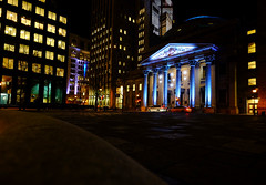 Place d'Armes in Montreal, Canada (` Toshio ') Tags: toshio montreal canada montrealenlumiere montrealinlight festival canadian placedarmes square light city buildings architecture fujixe2 xe2