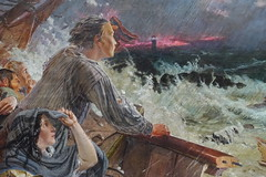 """Detail of """"Grace Darling (1815-1842) and her father William Darling (d.1865) save the Survivors from the Wreck of the Steamer 'Forfarshire' on the Farne Rocks, 7th September 1838"""" by William Bell Scott (Sparky the Neon Cat) Tags: europe united kingdom uk great britain gb england northumberland wallington hall central painting art william bell scott preraphaelite"""