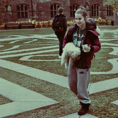 Maze of Life : Youth / Le labyrinthe de la vie : La jeunesse (H - - J) Tags: symbol symbolic psychological psychology psyche psychiatry psychiatrist psychic jung jungian jungianpsychology outdoor romwalk maze labyrinth trinitycollege dog student girl yin tao