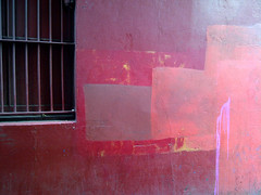 Red wall and barred window (janeslondon) Tags: street red london art window wall bar paint pattern holloway mews n7 bowmans