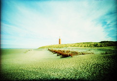 IMG_0016 (spoeker) Tags: sea lighthouse holland beach netherlands strand analog 35mm lomo xpro lomography sand meer fuji dune wide slide dia analogue kb texel leuchtturm dnen fujisensia lcwide