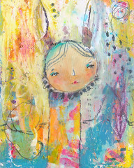mixed media painting (Juliette Crane) Tags: art animals painting creativity diy whimsy paint play mixedmedia creative dream course workshop howto owl inspire owls whimsical artclass howtopaint mixedmediaart artworkshop juliettecrane onlineartclass