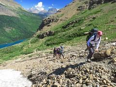 skirting a snow hazard (jcoutside) Tags: montana backpacking glaciernationalpark