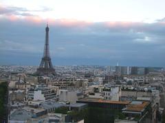 Eiffel Tower at evening (Simon_K) Tags: urban paris france tower high tour eiffel eifel lookingdown arcdetriomphe parisian birdseye vantage francais eiffell eifell parisien pariswander pariswanderblogspotcouk