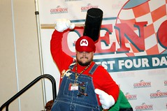 Oh no, it's Mario! (kennethkonica) Tags: blue costumes red people usa white man men face america fun eyes nikon midwest indianapolis hats posing indiana nikond70s jeans videogames gloves signage gencon males facialhair conventions redwhiteblue hoosiers gamers mariosvideogames