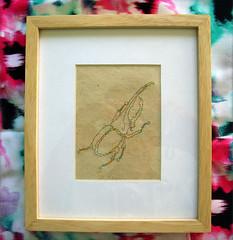 (Peliculas y Trenes) Tags: paper embroidery hilo papel escarabajo bordado