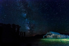 The Milky Way and the Moulton Barn (Ronnie Wiggin) Tags: nightphotography travel sunset sky usa lightpainting mountains nature field stars landscape outdoors nikon stream day image images jackson kelly mountmoran tetons phot digitalphoto grandteton jacksonhole scenics starburst