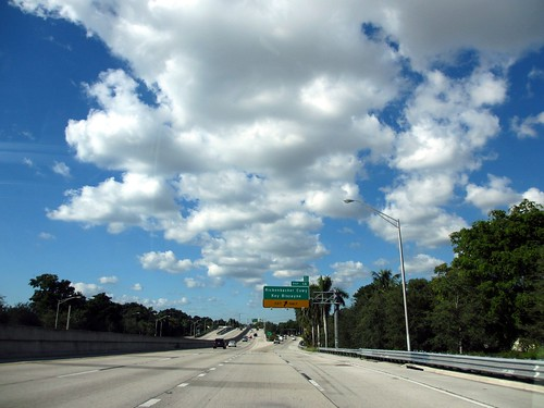 Rickenbacker Causeway exit and clouds, Miami, Florida