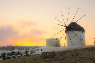 Sunrise view in Mykonos, windmill