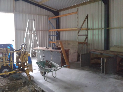 shelves and work benches being erected