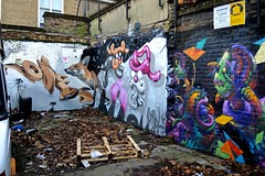Cornered Fox (FrankLong) Tags: street uk england urban abstract colour london art public promotion wall painting print poster graffiti freedom design mural grafitti message graphic artistic expression contemporary secret debris capital creative january shapes surreal social hidden talent printing fox shoreditch graffitti gb imagination spraypaint scrapyard anonymous derelict comment important 2014 art idiom street tower hamlets vision:outdoor=0853
