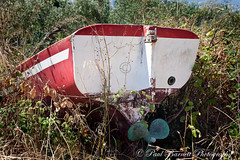 Sinking into Weeds (slaup) Tags: travel overgrown island boat weeds greece stern prop rudder goldenbeach hedgerow thassos