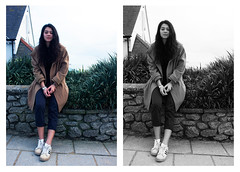 Colour or Black & White?! Strangers. (molly ann tilbrook) Tags: people woman white black colour girl fashion wall person seaside model cornwall coat strangers clothes unknown desaturated concept approach