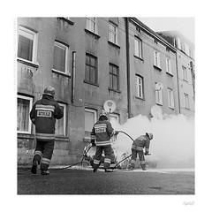 Damned bad morning (bolas) Tags: car fire poland va firefighter firefighters lodz łódź xenar rolleicord duoscan straż ultrafin t1200