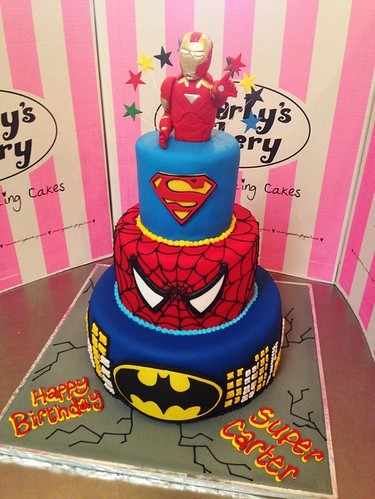 3 Tier Super Hero Themed Cake With Iron Man Topper