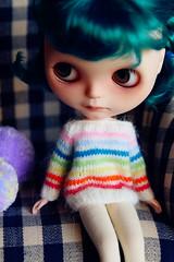 White Angora Rainbow strips