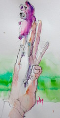 hand study with pink panther - watercolour (Nora MacPhail) Tags: hand study nora watercolour studies fingerpuppet macphail 6bpencil