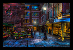 Flower Seller (Kevin, Mr Manchester) Tags: architecture building canon1100d canon1855mm citycentre colorfull england hdr lancashire manchester northwest outdoor photoborder street lamps flowers