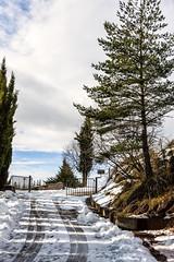 El camino (JC Arranz) Tags: simple españa 35mm barcelona nieve azul arboles minimalista paisaje camino blanco nubes cataluña nikond3200 castellar de nhug montaña