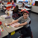 Elementary students pose on Dr. Seuss day