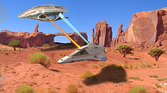 Desert Trek (seeviewer) Tags: fantasy fiction scifi star trek predator spaceship alien battle phaser fire war conflict landscape particle beams outdoor arch rock voyager delta flyer