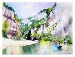 Gorges du Tarn - Occitanie - France (guymoll) Tags: kayak tarn gorgesdutarn gorges occitanie france falaises rivière aquarelle watercolour watercolor sketch croquis barque canoë