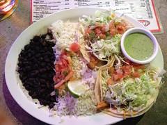 Combo #2 - Two Fish tacos with beans and rice. (A_Shankasaurus) Tags: fishtacos riceandbeans wazoosfishtaco
