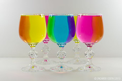 Color Refraction (Ricardo Costa BR) Tags: stilllife white color water glass colors rainbow wine refraction highkey coloured