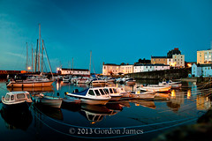 Tenby-0080-Harbour at dusk 2 (GordonJames) Tags: reflection wales boats harbour dusk tenby 2013 canon5dmkii