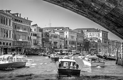 In the traffic of Venice (lucky_s7evin) Tags: venice summer bw italy river boats canal grande blackwhite traffic tunnel venecia venedig canale