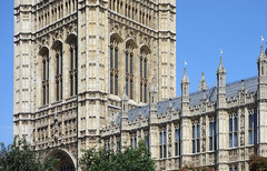 Palace of Westminster, detail with Victoria Tower