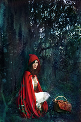 In The Deep Dark Woods (alexislawson1) Tags: red portrait fashion fairytale dark experimental little grunge riding fantasy cape hood cloak conceptual