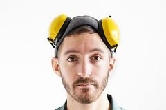 (Damien Cox) Tags: uk portrait selfportrait man male me hat self work ego myself beard nikon masculine moi scruff stubble eardefenders i damiencox dcoxphotographycom