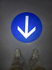 start here (Mr.  Mark) Tags: street blue feet me up sign stand photo stock down here direction arrow markboucher
