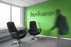 Kodamera Identity & Stationery (Lundgren+Lindqvist) Tags: blue green wall contrast studio design office 3d stencil colours graphic sweden identity simplicity stationery pantone